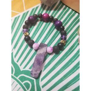 Handmade Amethyst lava beaded diffuser Bracelet